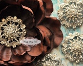 RD74 BIG 2 inch CLEAR Rhinestone embellishment button Perfect for wedding accessories invitations pillow crystal bouquet flowers hair