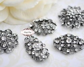 6pc Antigue Silver Assorted Rhinestone Flatback Embellishment Buttons Wedding Brooch Crystal Bouquet Favors Cakes Invitations