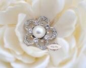 5pcs RD144 Rhinestone Pearl Silver Metal Flatback Embellishment Button Brooch Bridal invitations crystal bouquet wedding hair comb