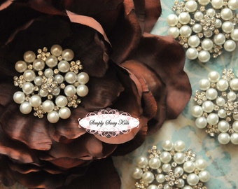 RD73 BIG 2 inch Pearl & Rhinestone embellishment button Perfect for wedding accessories, invitations, pillow, crystal bouquet, flowers, hai