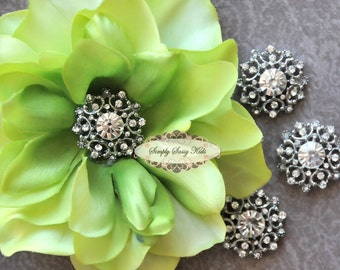 5 pcs RD102 Clear Rhinestone Metal Flat Back Embellishment Buttons flowers invitations favors bouquets napkins accessories hair clips