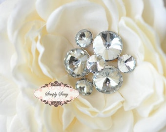 3 pcs RD88 Rhinestone Metal Flatback Embellishment Button Brooch Bridal accessories invitations crystal bouquet flowers hair clip comb