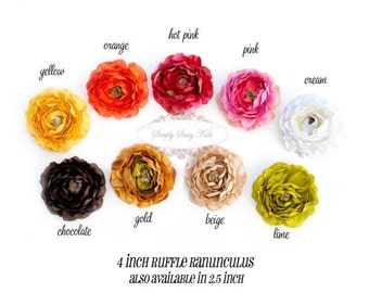 Ruffle Ranunculus Stemless Artificial Silk Flower with Ruffled Edges For Hair, Crafts, Projects, Weddimg