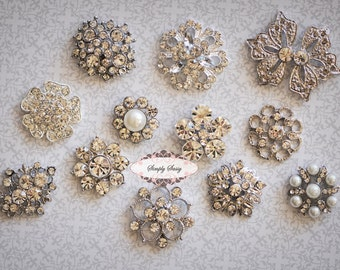 12 pcs SILVER Rhinestone Flat back Embellishment Assorted Buttons Diamond Crystal Hair Flower Comb Clip Wedding Invitation Brooch Bouquet