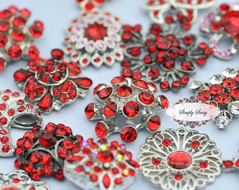 10pc RED Assorted Rhinestone Flat back Embellishments DIY Brooches Crystal Buttons Wedding Bouquet Favors Invitations Bling