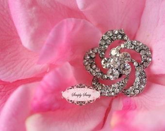 5 pcs RD124 Rhinestone Metal Flatback Embellishment Button Brooch Bridal accessories invitations crystal bouquet flowers hair clip comb