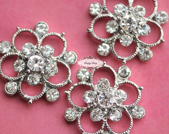 10 pcs RD139 Clear Rhinestone Metal Flat Back Embellishment Buttons flowers invitations favors bouquets napkins accessories hair clips