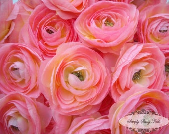 2 pcs Light Pink Silky Soft Ranunculus Artificial Flower Heads Color 3.5in DIY Bouquets Arrangements Hair Clips Wedding