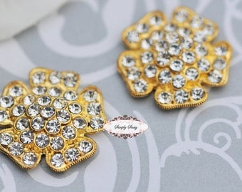 5 pcs RD146 GOLD Clear Rhinestone Metal Flat Back Embellishment Buttons flowers invitations favors bouquets napkins accessories hair clips