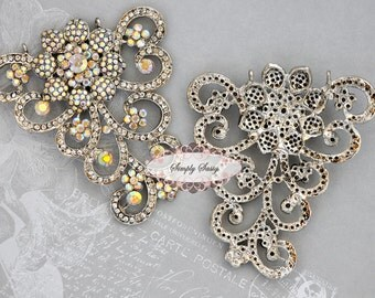 RD181 STUNNING Rhinestone Filigree Jewelry Statement Component Accessory Piece Adornment Embellishment Wedding Bridal