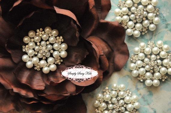 10 pc RD73 2 inch Pearl & Rhinestone embellishment brooch 4 wedding bridal accessories invitations pillow crystal bouquet flowers hair