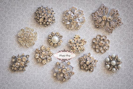 12 pcs SILVER Rhinestone Flat back Embellishment Assorted Buttons Diamond Crystal Hair Flower Comb Clip Wedding Invitation Brooch Bouquet