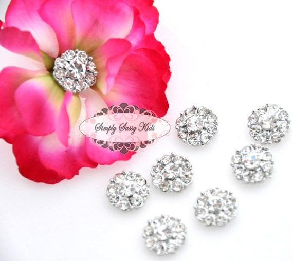 20 pcs RD100 Clear on Silver 11mm Rhinestone Embellishment Flatback Crystal DIY invitations flowers weddings bouquet brooch bling