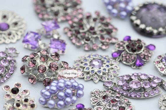 10pc Lavender Purple Assorted Rhinestone Flat back Embellishments DIY Brooches Crystal Buttons Wedding Bouquet Favors Invitations Bling