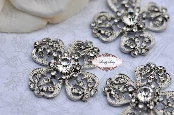 3 pcs RD136 Rhinestone Metal Flatback Embellishment Button Brooch Bridal accessories invitations crystal bouquet flowers hair clip comb