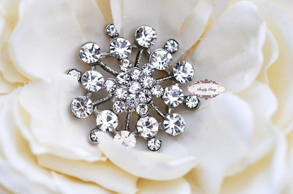 5pcs RD140 Rhinestone Silver Metal Flatback Embellishment Button Brooch Bridal accessories invitation crystal bouquet flowers hair clip comb