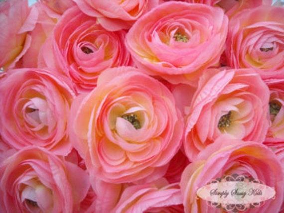 2 pcs Light Pink Silky Soft Ranunculus Artificial Flower Heads Color 3.5in DIY Bouquets Arrangements Hair Clips Wedding
