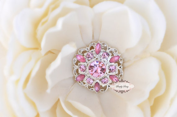 5 pcs RD154 Pink Rhinestone Silver Metal Flat Back Embellishment Buttons flowers invitations favors bouquets napkins accessories hair clips