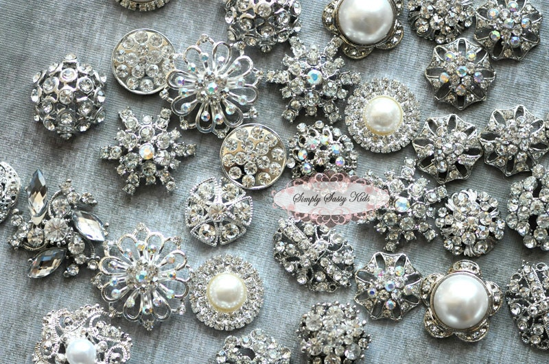 Sale 10pc Rhinestone Buttons Diy Craft Flower Centers Brooches