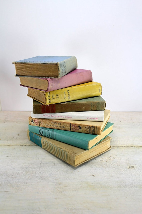 Instant Collection, Vintage Books, Pastel Shades. Pink Green Blue.