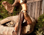 Festival Belt Bustle Custom Made To Order Wild Gypsy Tribal Print Earth-toned Multilayered Up Cycled