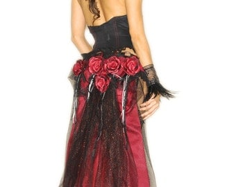Handmade Formal Red Rose Bustle, Steampunk , Renaissance Fair, Red and Black Victorian Silk Rose Bustle Belt,Pirate Wench, Made to Order