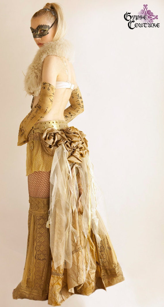 One of a Kind Beauty Bell Embroidered Iridescent Butterscotch and Gold Taffeta Bustle