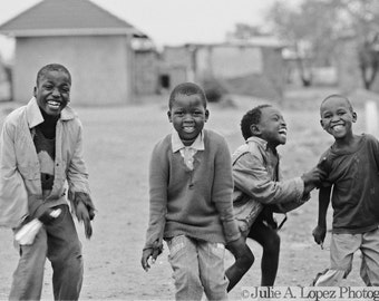 Dance Photography, Joyful, Childhood, Smile, Laughter, Africa, Happiness, Dancing, Black and White Photography, 8x12