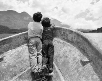 Adventure Photography, Brother, Brotherhood, Innocence, Wall Art, Boat, childhood, Guatemala, Black and White Fine Art Photography, 8x10