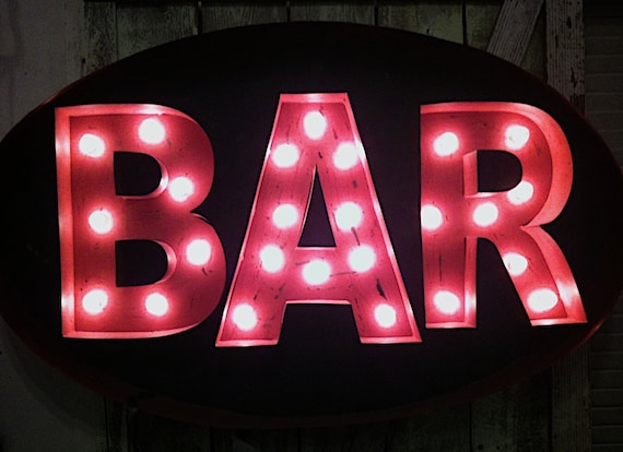 Sign Photography, Mardi Gras, Alcohol, Festive, Bar, Red, Drinking, Pink, Neon Signs, Cocktails, Fine Art Photographic Print, 8x10