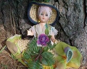 Vintage Souvenir Florida Doll Sleep Eye TLC 8 inch Altered Art Tropical