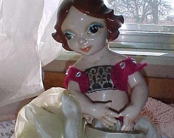 Vintage Gypsy Harem Large Ceramic Belly Dancer Doll