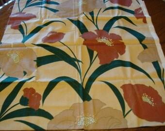 Fabric Scrap Large Flowers Brown Green Beige Medium Weight Crafts Pillows