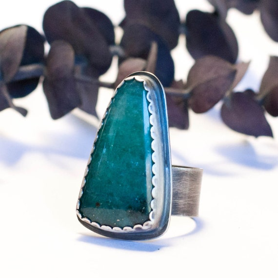 RESERVED for Pixie Peace Ring - Emerald Green aventurine sterling silver statement ring, peace label