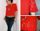 80s - Tropical Dream - Orange Crop Top with Beautiful, Embroidered, Lace Accents- Size S