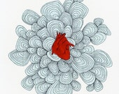 A4 Print Red Anatomical Heart Collage  - 11.5 X 8 inches