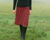 Red Plaid Wrap and Snap Skirt