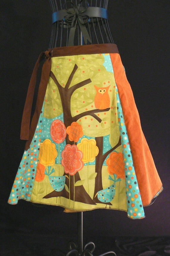Handmade Polka Dot Owl Wrap Skirt,  with Tree and Birds by Oh Rita