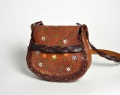Vintage Tooled and Painted Leather Hippie Purse