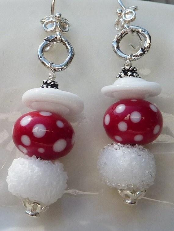 Lampwork Earrings QUEEN OF HEARTS