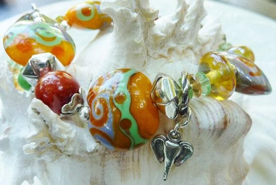 SALE  Lampwork  bracelet ELEPHANT DANCE