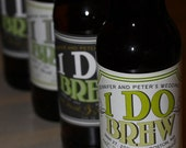 50 I DO BREW Personalized Beer Labels for Wedding Favors - Labels Designed for Glass Bottles