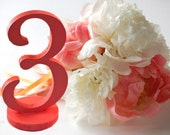 Coral Table Numbers for Coral and Grey Romantic Summer Weddings