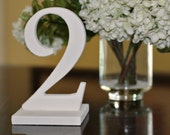 Antique White Table Numbers for Weddings, Wooden Standing Numbers on Bases, Vintage Chic