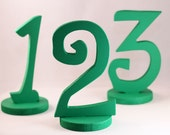 Kelly Green Table Numbers in Funky, Beach Lettering for Wedding Reception Decorations and Table Settings