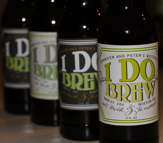 Wedding Favors - 100 Beer Labels - Personalized Wedding Beer Labels - I DO BREW Vintage Style