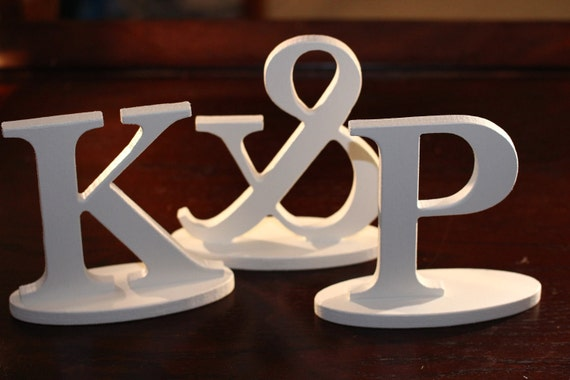 Wedding Ampersand and Initial SET - Standing Letters, Antique White