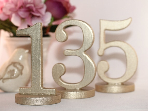 "MINI Gold Table Numbers - Wooden Table Numbers for Weddings on Wood Bases - 5"" Tall, Metallic and Shimmering"