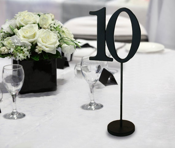 Wedding Table Numbers for Weddings and Events - Wood, Black Table Numbers