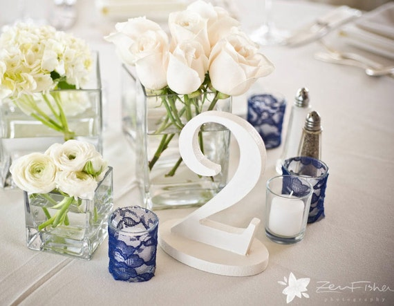 White Wedding Table Numbers - Custom, Freestanding Wood Table Numbers - Reception Decor